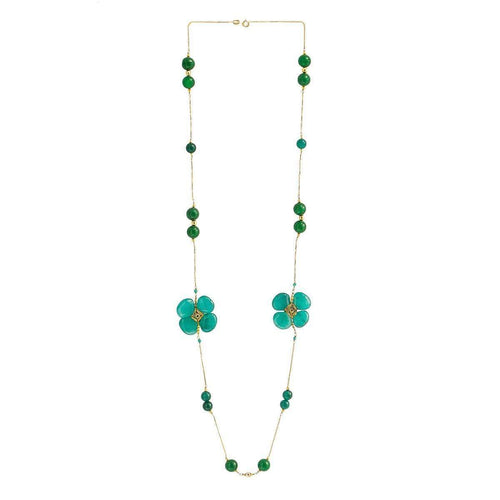 Clover Chain With Jade, Onyx And Quartz-M's Gems by Mamta Valrani-JewelStreet US