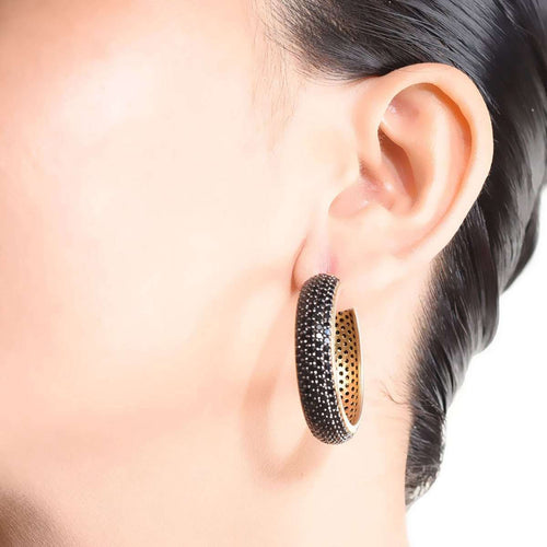 Dark Swirl Hoop Earrings with Onyx-M's Gems by Mamta Valrani-JewelStreet US