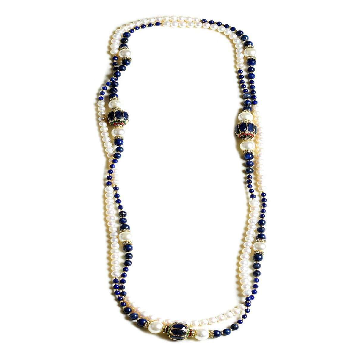 Magnifique Pearl Necklace with Lapiz Lazuli,Diamantes and Beads-M's Gems by Mamta Valrani-JewelStreet US