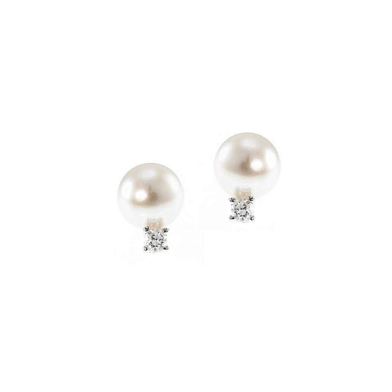 CZ Fresh Water Pearl Mini Earrings-CZ by Kenneth Jay Lane-JewelStreet US
