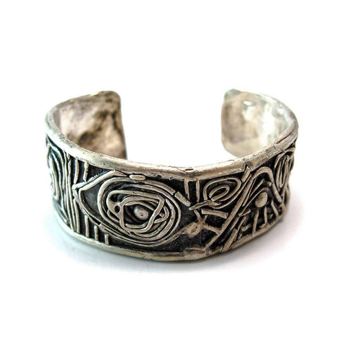 Midsummer Night's Dream Oxidized Sterling Silver Cuff-Private Opening-JewelStreet US