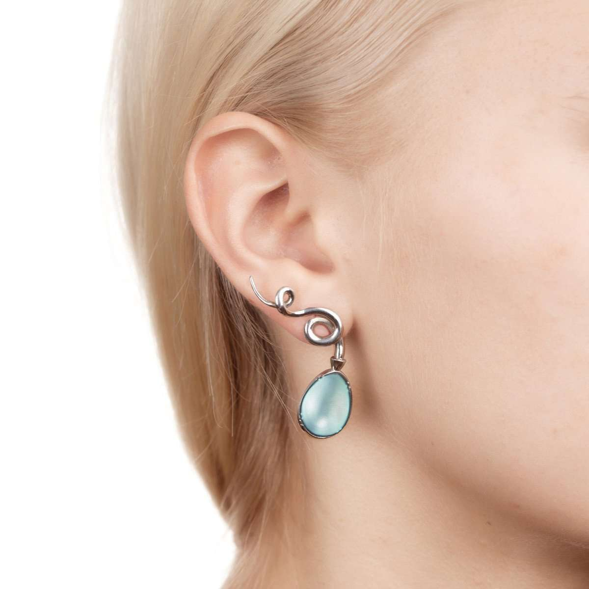 Curl Earrings Small Polar Blue-Hyrv-JewelStreet US