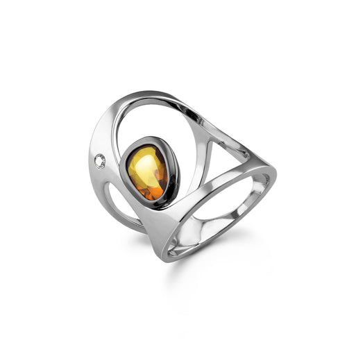 14kt White Gold Mucha Ring With Yellow Sapphire and Diamond ,[product vendor],JewelStreet