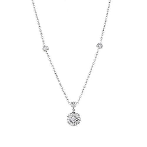 Engraved Diamond Pavé Round Necklace with Three Bezels