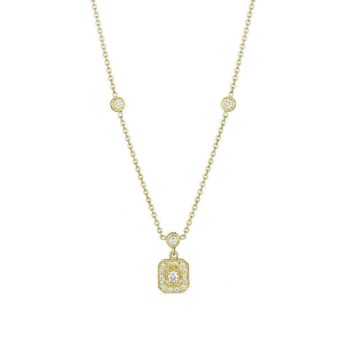 Diamond Emerald Shape Gold Necklace with Three Bezels
