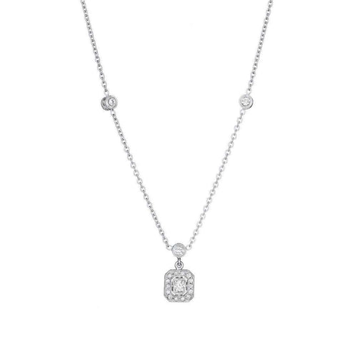 Engraved Diamond Emerald Shape Necklace with Three Bezels