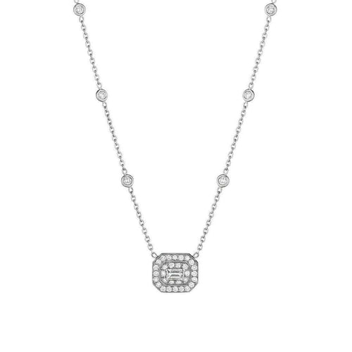 Diamond Necklace with Emerald-Cut Center Stone