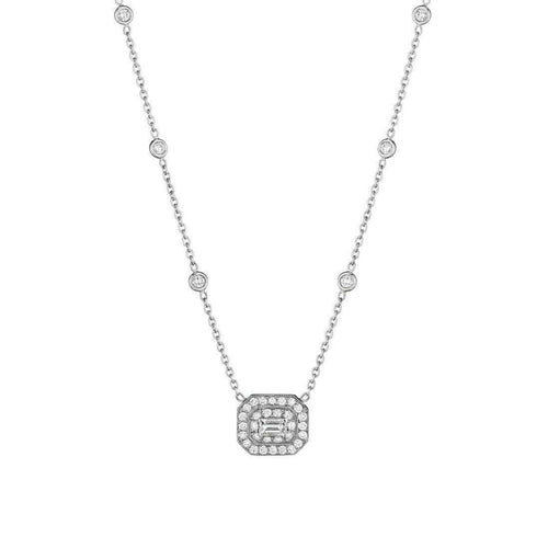 Mid Diamond Necklace with Emerald-Cut Center Stone