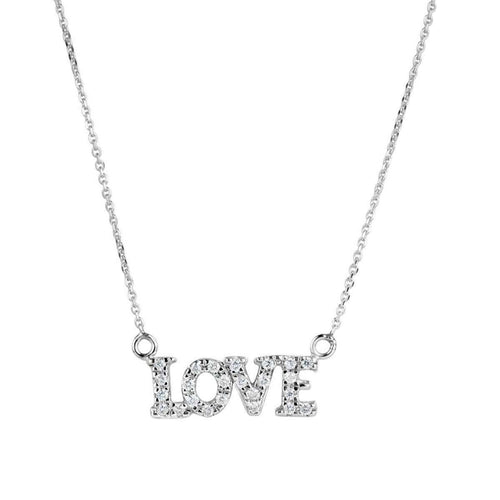 "14kt White Gold ""Love"" Necklace with Diamonds-Samuel B.-JewelStreet US"