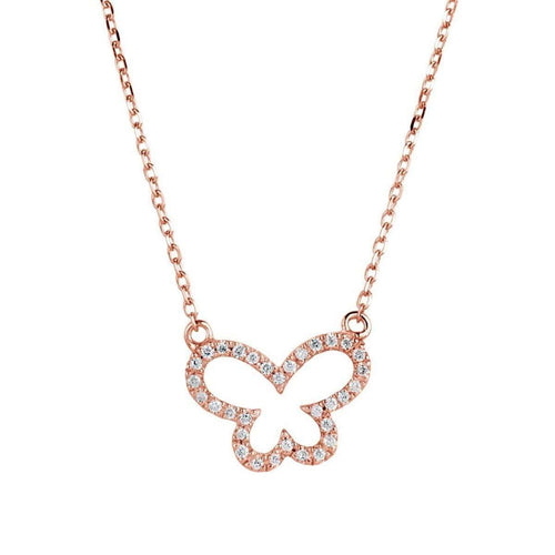 14kt Rose Gold Butterfly Necklace with Diamonds-Samuel B.-JewelStreet US