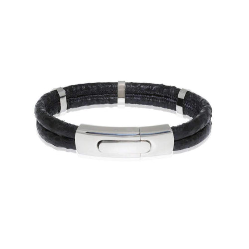 Atlantic Salmon Leather Bracelet Steel Black-Bracelets-Marlin Birna-JewelStreet