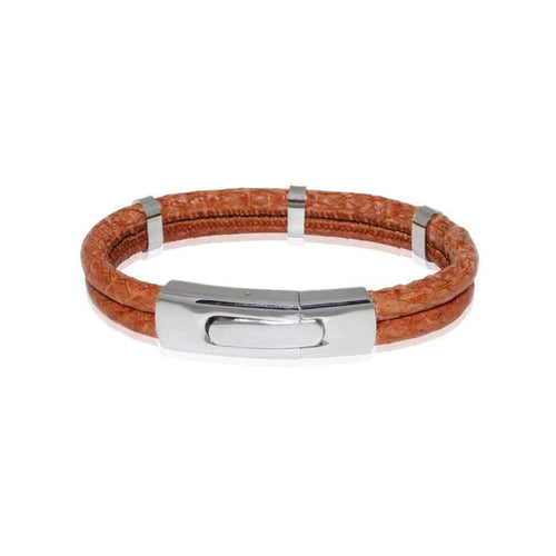 Atlantic Salmon Leather Bracelet Steel Cognac-Bracelets-Marlin Birna-JewelStreet