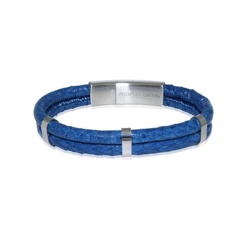 Atlantic Salmon Leather Bracelet Steel D-Blue-Bracelets-Marlin Birna-JewelStreet