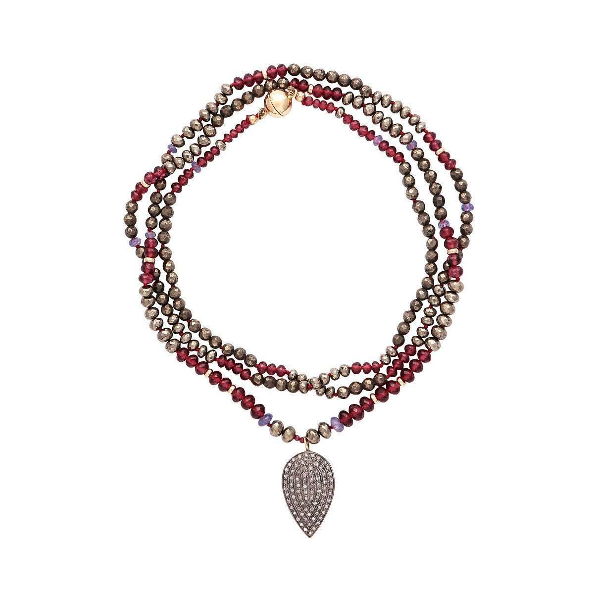 Garnet And Pyrite Necklace With Diamond Pendant-Plumeria Exclusive London-JewelStreet US