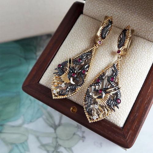 Gold, Diamond & Ruby Fire Element Dragon Drop Earrings | Chekotin Jewellery