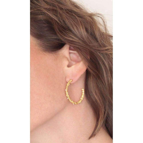 Organica Large Gold Hoops-Earrings-Militza Ortiz-JewelStreet