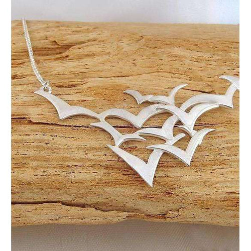 Silver Seabirds Necklace-Charlotte Cornelius-JewelStreet US