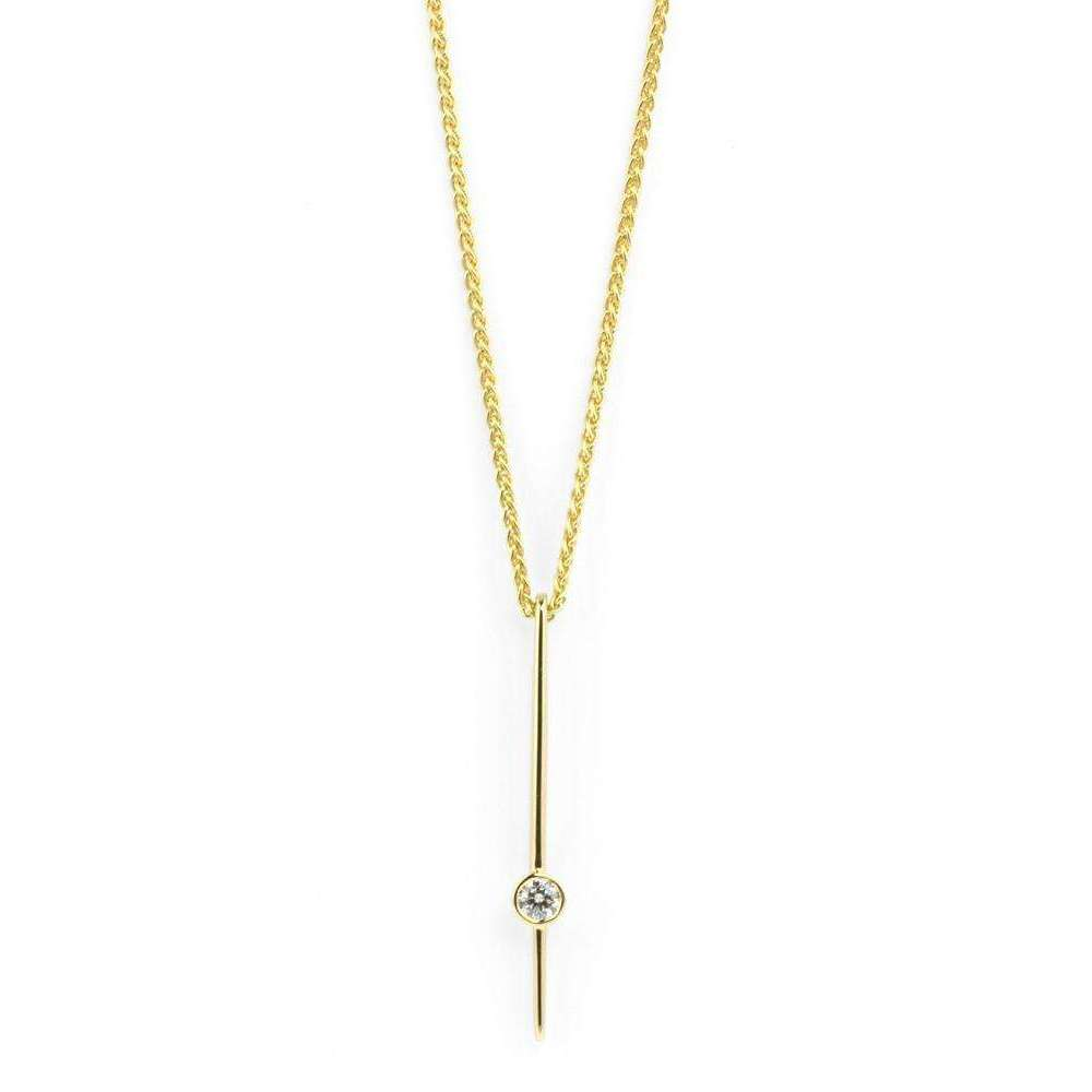 18kt Gold Diamond Necklace-Prism Design-JewelStreet US