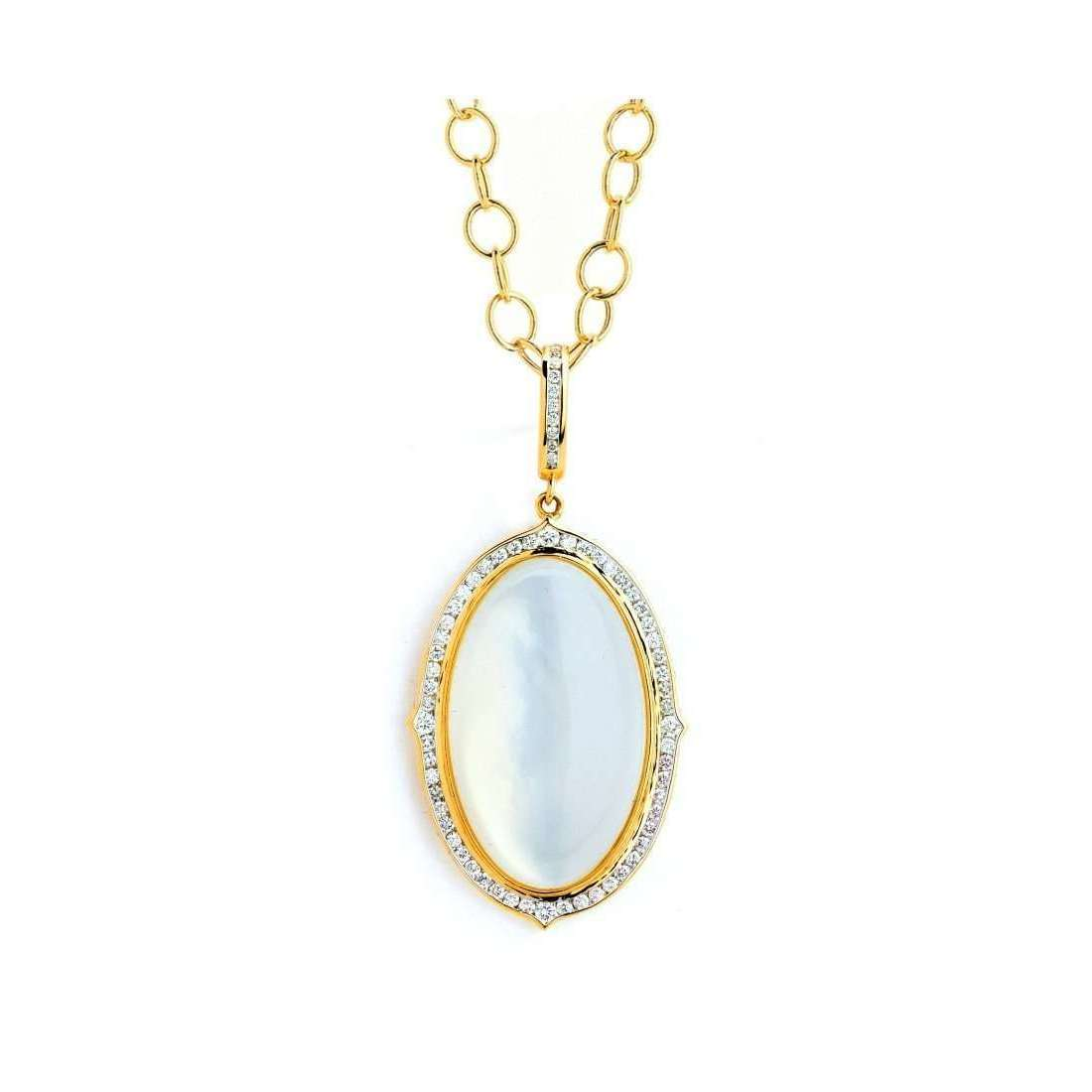 18kt Moon Quartz and Diamond Pendant With Chain-Syna-JewelStreet US