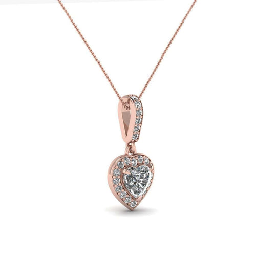 Halo Love Pendant in 10kt Rose Gold-Diamoire Jewels-JewelStreet US
