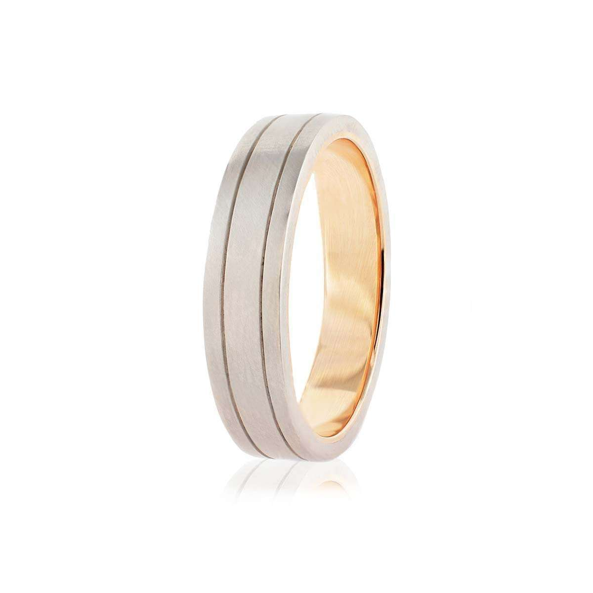 Men's Palladium and Rose Gold Wedding Band-Nigel OReilly Goldsmith and Jewellery Design-JewelStreet US