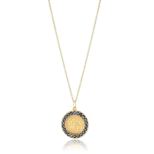 Classic Charm Disc with Blue Sapphires Necklace-Emily & Ashley-JewelStreet US