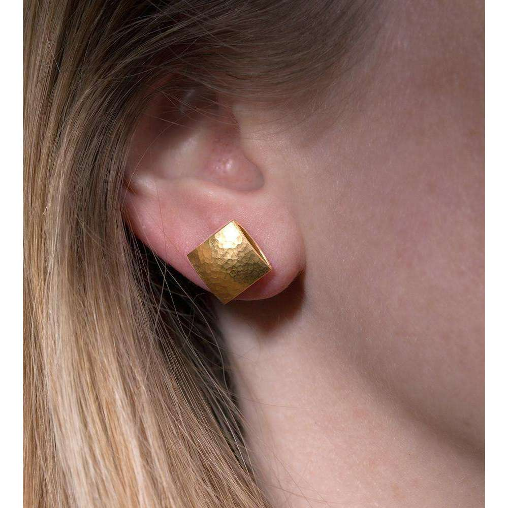 Gold Textured Pillow Studs-Heather O Connor-JewelStreet US