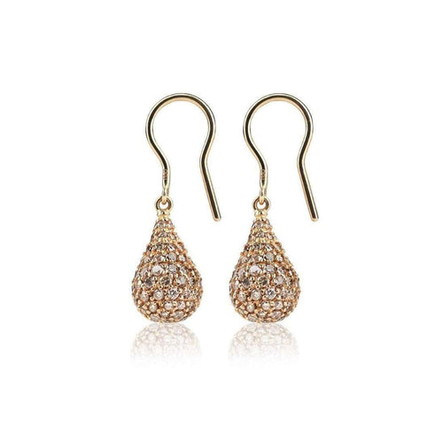 Rose Gold Diamond Drop Earrings-Loushelou-JewelStreet US