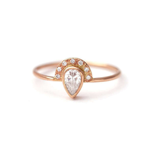 Pear Diamond Engagement Ring with Half Halo-ARTEMER-JewelStreet US