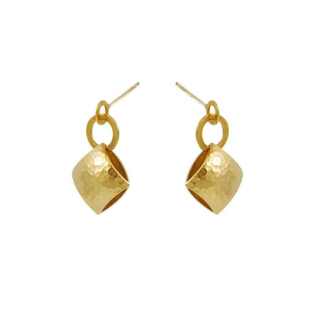 Gold Pillow Drop Earrings-Heather O Connor-JewelStreet US