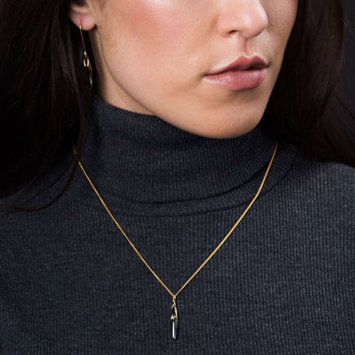 Hun Pitou Duel Length Yellow Gold and Black Rhodium Pendant-Vurchoo-JewelStreet US