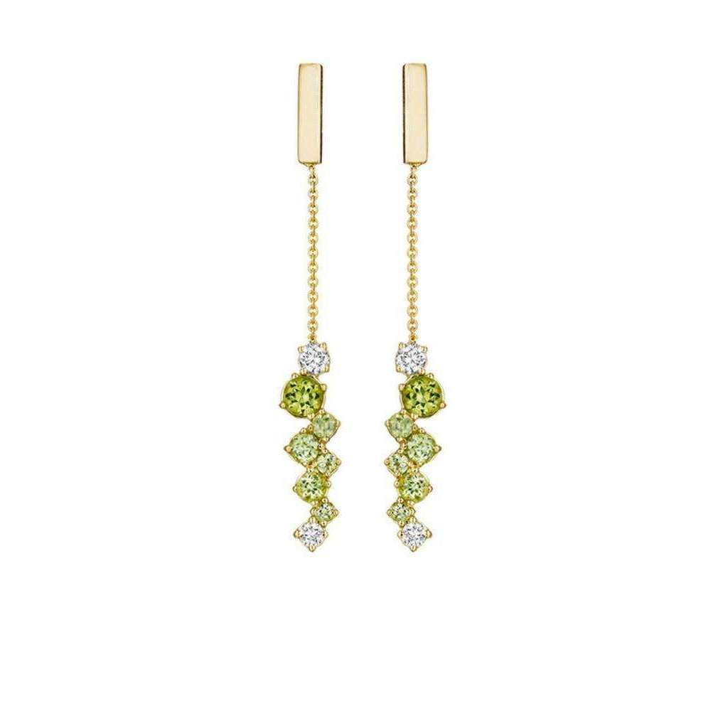 Melting Ice Peridot Bar Drop Earrings-Madstone Design-JewelStreet US