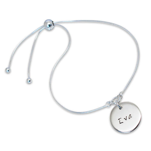 Personalised Disc Slider Sterling Silver Bracelet
