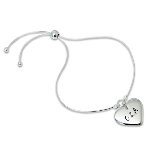 Personalised Heart Slider Sterling Silver Bracelet