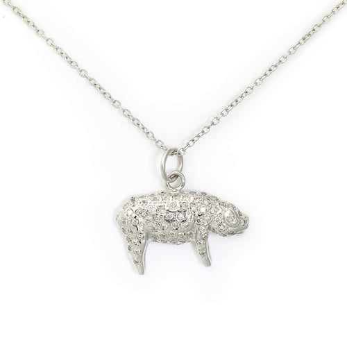 White Gold Pave Pig Necklace