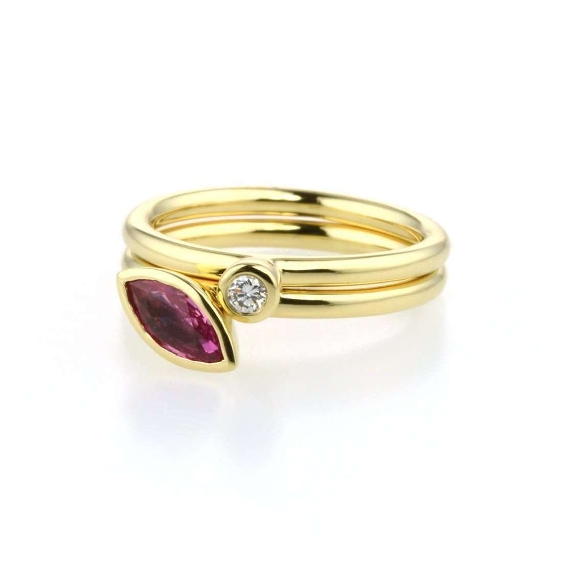 18kt Gold Set of Three Diamond & Sapphire Stacking Rings-Prism Design-JewelStreet US