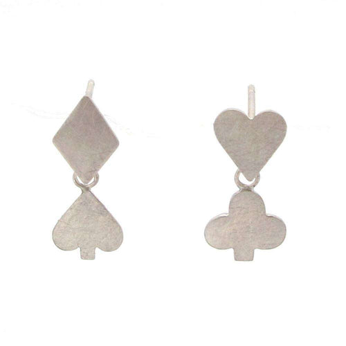 Wonderland Playing Card Suit Earrings-Sian Bostwick Jewellery-JewelStreet US