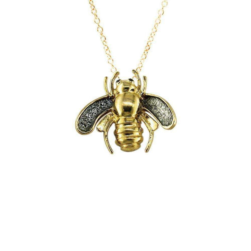 Yellow Gold Black Diamond Kew Bumble Bee Pendant-London Road Jewellery-JewelStreet US