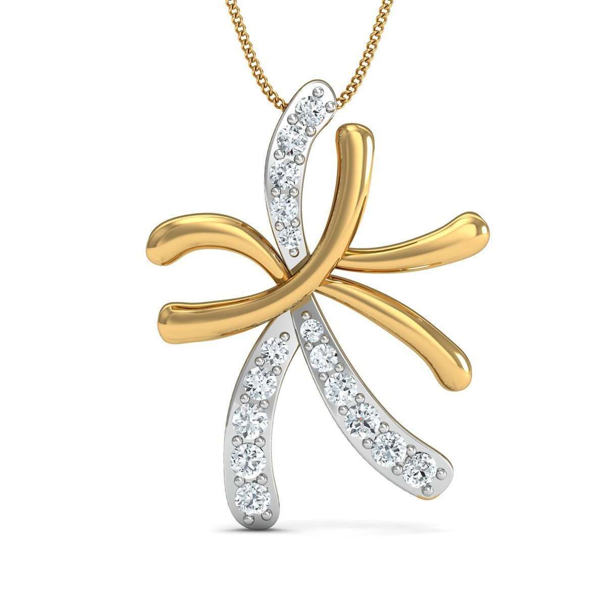 14kt Yellow Gold and Diamond Pave Pendant-Diamoire Jewels-JewelStreet US