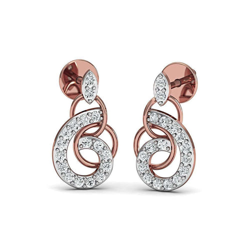10kt Rose Gold and Diamond Pave Earrings-Diamoire Jewels-JewelStreet US