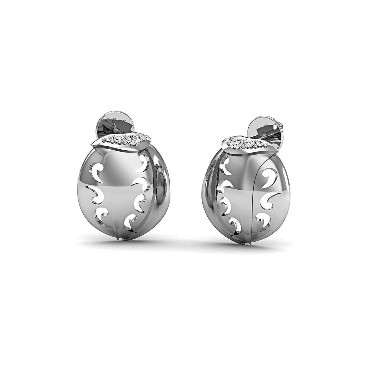 14kt White Gold and Premium Diamonds Pave Earrings-Diamoire Jewels-JewelStreet US