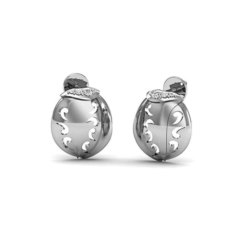 18kt White Gold and Premium Diamonds Pave Earrings-Diamoire Jewels-JewelStreet US