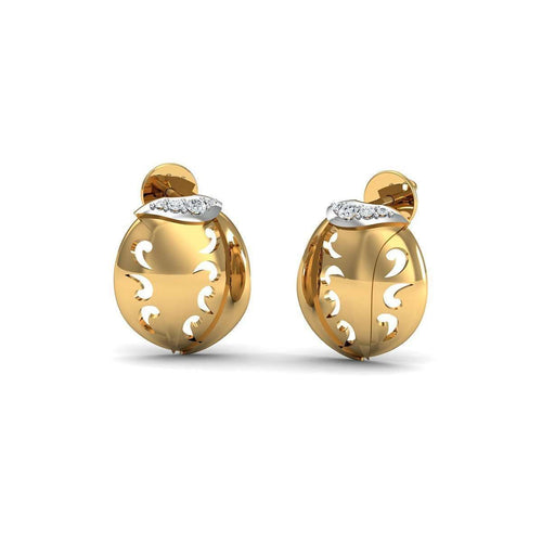 Hand-carved 10kt Yellow Gold and Premium Diamond Pave Earrings-Diamoire Jewels-JewelStreet US