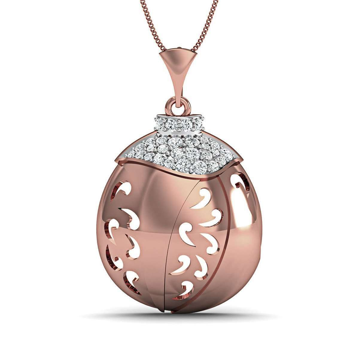 10kt Rose Gold Nature Inspired Round Cut Diamond Pave Pendant-Diamoire Jewels-JewelStreet US