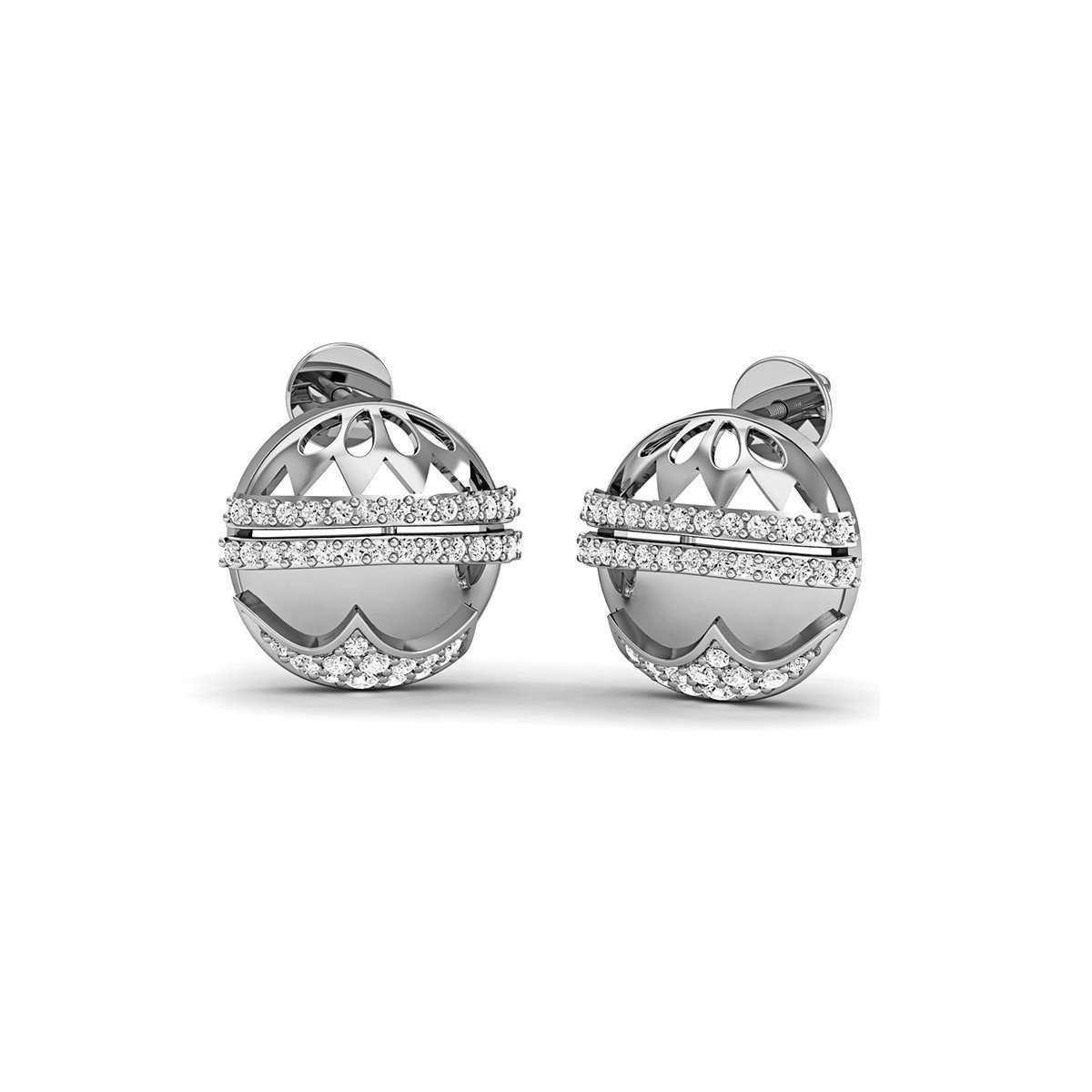 10kt White Gold Pave SI3 Diamond Earrings-Diamoire Jewels-JewelStreet US