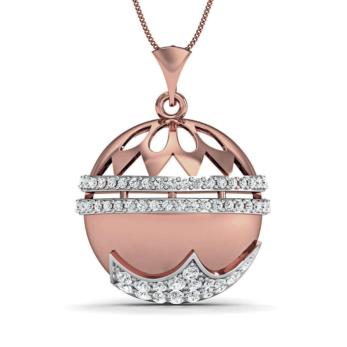 18kt Rose Gold Nature Inspired Round Cut Diamond Pave Pendant-Diamoire Jewels-JewelStreet US