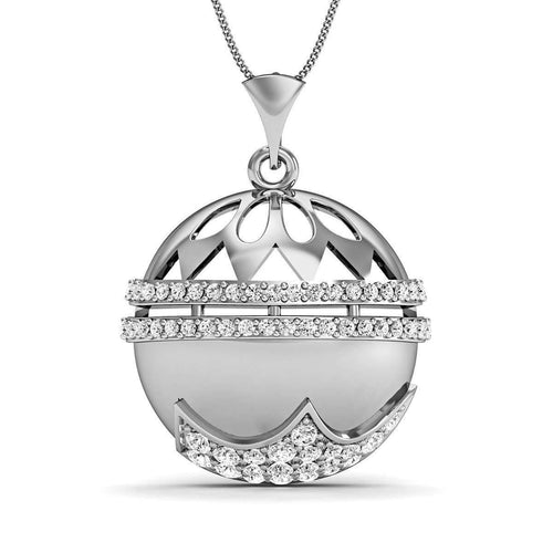 Diamonds and 10kt White Gold Nature Inspired Pendant-Diamoire Jewels-JewelStreet US