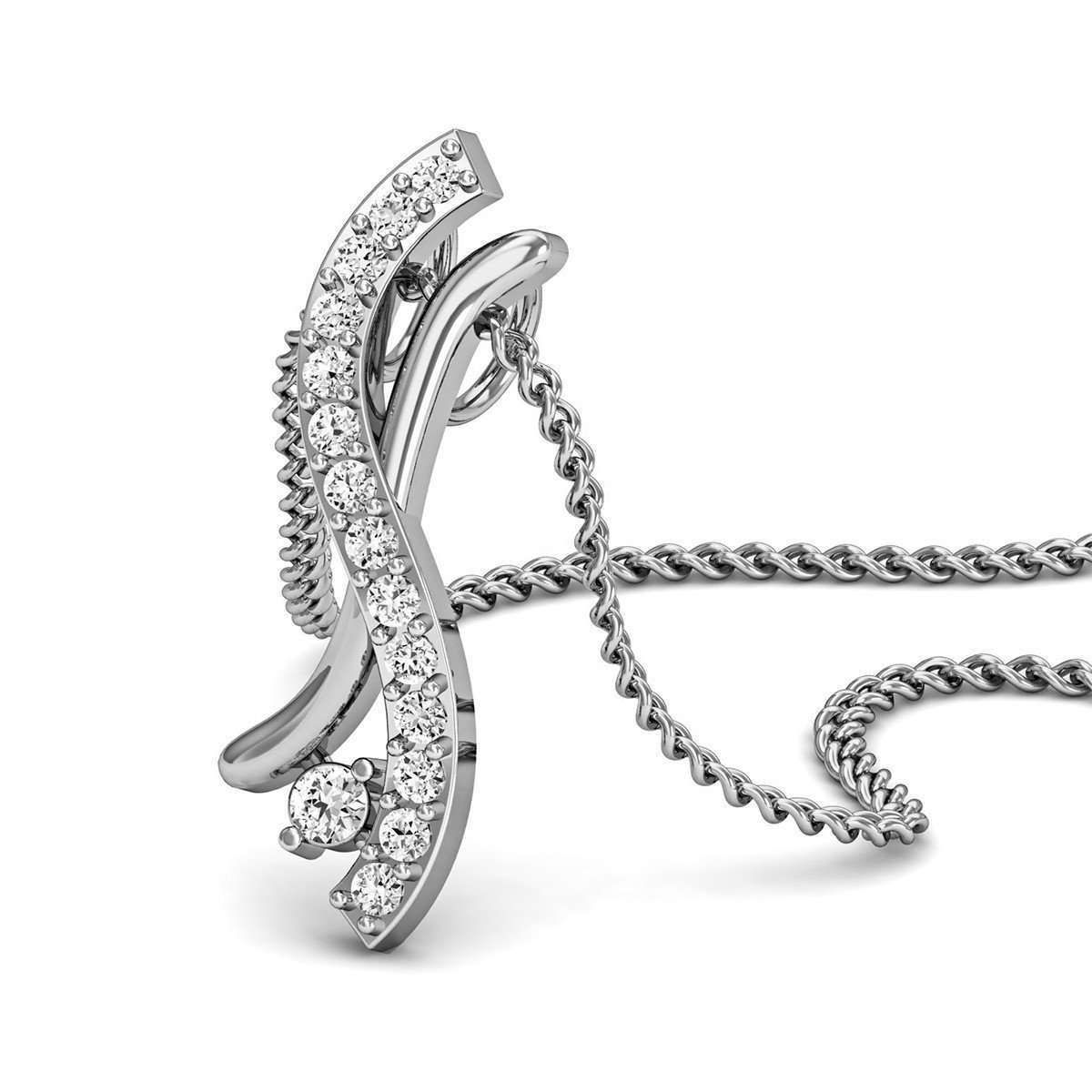 15 Round Cut Diamonds and 10kt White Gold Pave Ribbon Twirl Pendant-Diamoire Jewels-JewelStreet US