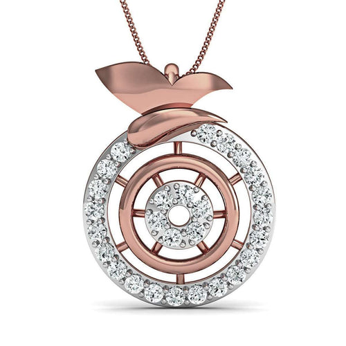 Inspired by Nature 14kt Rose Gold Pave Designer Diamond Pendant-Diamoire Jewels-JewelStreet US