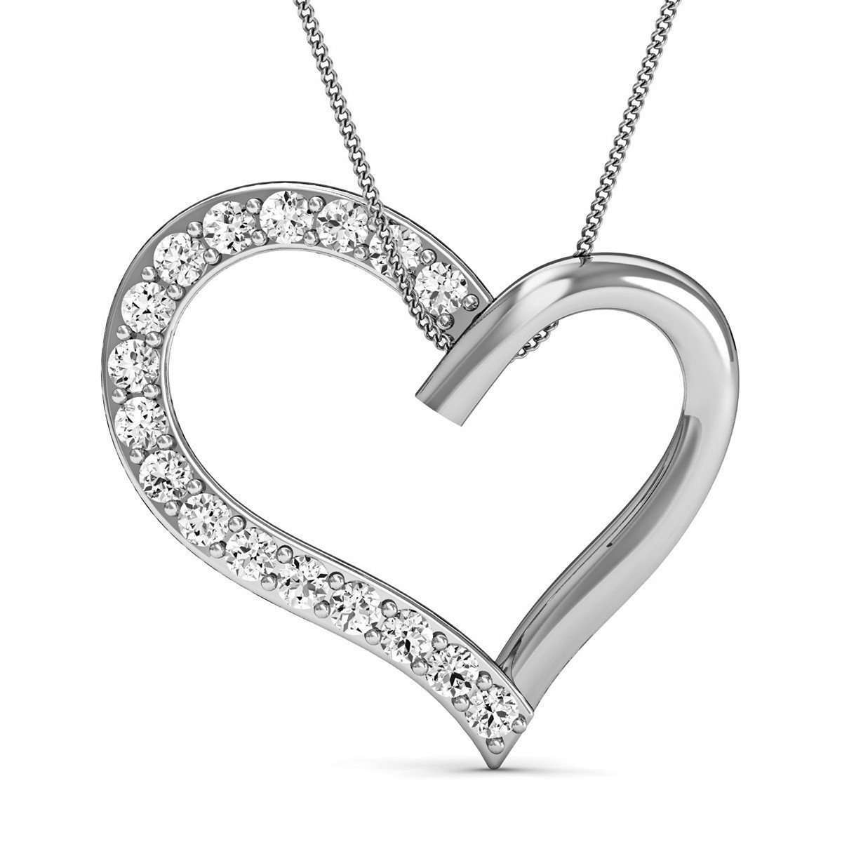 14kt White Gold Heart Pendant with Premium Quality Diamonds-Diamoire Jewels-JewelStreet US